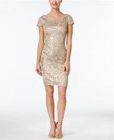 Calvin Klein Sequined Lace Illusion Sheath Dress