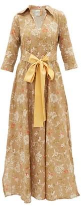 Hotel Particulier La Costa Del Algodon - X Marais Floral-print Maxi Dress - Womens - Brown Print