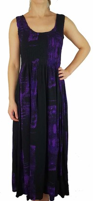 Ikat Ladies Long Summer Flowing Dress with Smocked Top - Fits Sizes 8-28 (Black Flowers One Size)