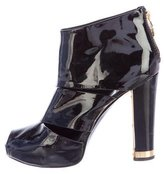 Tory Burch Patent Leather Peep-Toe Ankle Boots