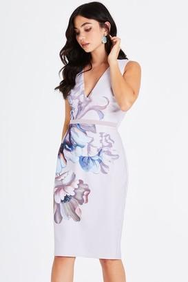 Little Mistress Corina Floral Plunge Pencil Dress