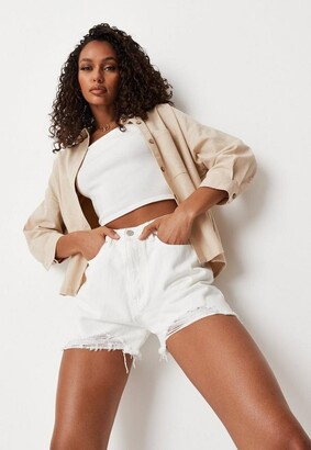 Missguided Petite White Extreme Ripped Hem High Waist Denim Shorts
