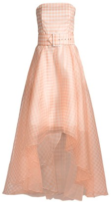 Shoshanna Dianora High-Low Gingham Silk Gown