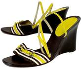 Kate Spade Yellow & Brown Strappy Wedges