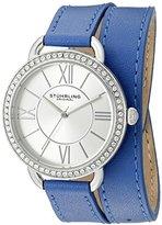 Stuhrling Original Women's 587.01 Deauville Quartz Crystals Blue Wraparound Leather Band Watch