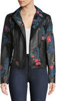 Elie Tahari Mae Floral Leather Jacket