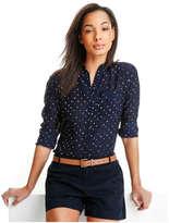 Joe Fresh Women's Print Silk Shirt, Dark Blue (Size XS)