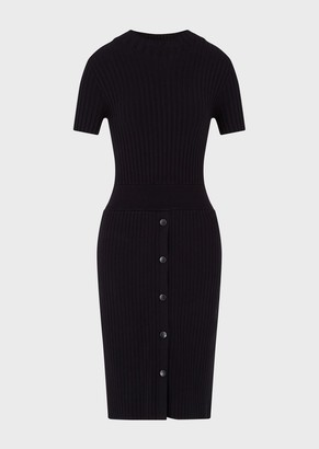 Emporio Armani Ribbed, Mock Turtleneck Dress With Buttons