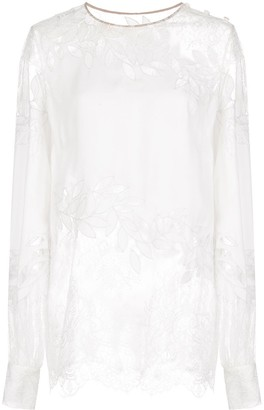 Oscar de la Renta Shoulder Buttons Lace Blouse