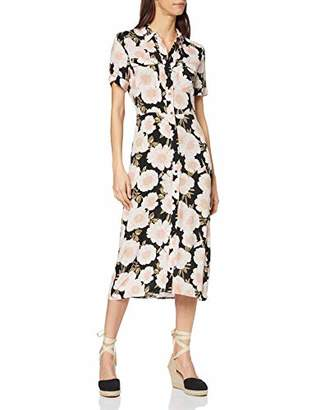 Warehouse Women's Gardinia Floral Print Midi Shirt Dress Casual,6