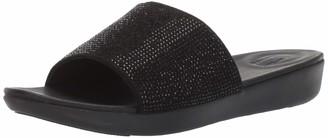 FitFlop Women's SOLA CRYSTALLED Slide Sandal Black 6 M US