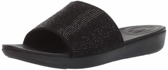FitFlop Women's SOLA CRYSTALLED Slide Sandal Black 9 M US