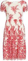 Gina Bacconi Dainty embroidered scallop net dress