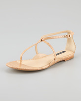 Rachel Zoe Gwen Snakeskin Flat Sandal, Natural