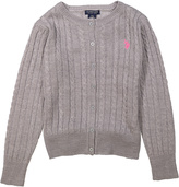 U.S. Polo Assn. Heather Gray Button-Up Cardigan - Girls