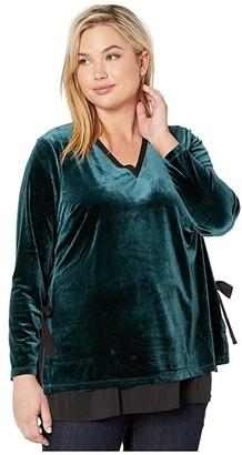 Nic+Zoe Plus Size Felicity Velvet Top (Deep Space) Women's Blouse
