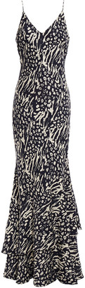 Rebecca Vallance Lola Tiered Printed Crepe Maxi Slip Dress