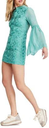 Free People Cleo Tonal Embroidered Mini Dress