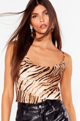 Nasty Gal Womens A Real Wild Child Tiger Crop Cami Top - Brown