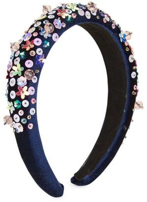 Bari Lynn Girl's Floral Sequin Swarovski Crystal Velvet Headband