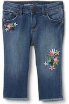 Gap Stretch distress embroidery straight crop jeans