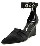 Free People Shadow Dancer Women Open Toe Leather Black Wedge Heel.