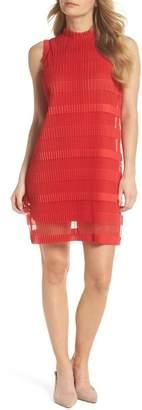 Julia Jordan Stripe Pleated Chiffon Shift Dress