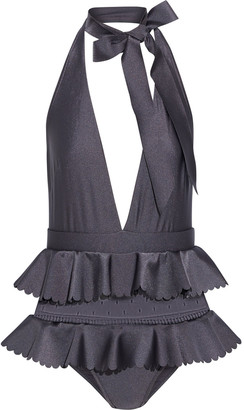 Zimmermann Honour Point D'esprit-paneled Ruffled Halterneck Swimsuit
