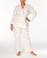 Lauren Ralph Lauren Plus Size Brushed Twill Notch Collar Pajama Set