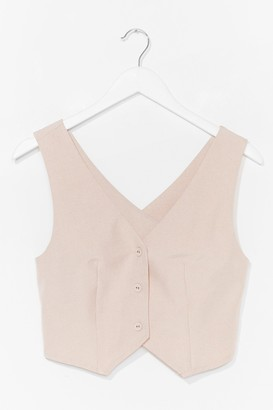 Nasty Gal Womens All in a Days Work Crossover Tailored Vest - Stone