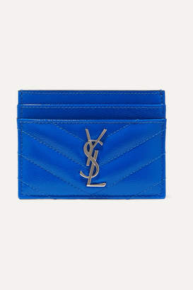Saint Laurent Monogramme Quilted Neon Textured-leather Cardholder - Blue