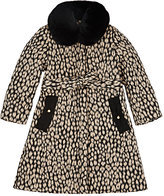 Lanvin LEOPARD-PRINT FUR-COLLAR QUILTED COAT-TAN SIZE 6