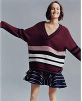 Express stripe oversized deep v-neck tunic sweater