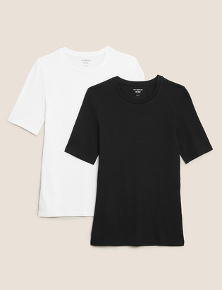 Marks and Spencer 2 Pack Pure Cotton Regular Fit T-Shirts