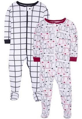 Little Star Organic Baby & Toddler Boy 1-Piece Snug Fit Stretchie Footed Pajamas, 2-Pack
