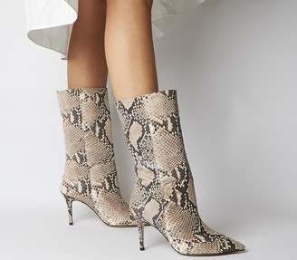 Office Koffee Pointed Calf Boots Natural Snake Leather