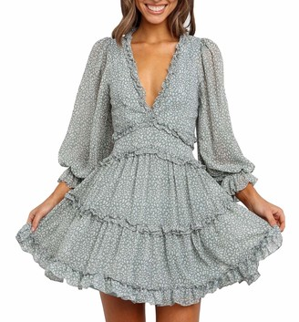 SUPERSUN Bohemian Ruffled Floral Print Mini Dress Long Sleeve V Neck Backless Boho Dresses Women for Casual Party Wedding Print White L