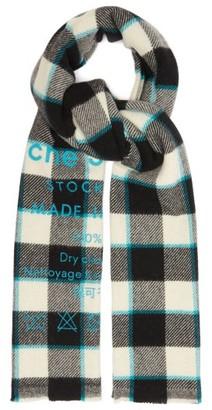 Acne Studios Cassiar Logo-print Checked Virgin-wool Scarf - Black/white