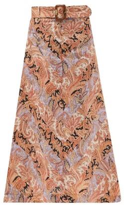 Zimmermann Wild Botanica Paisley-print Belted Linen Skirt - Pink Multi