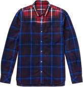Sacai Dip-dyed Checked Cotton-flannel Shirt - Blue