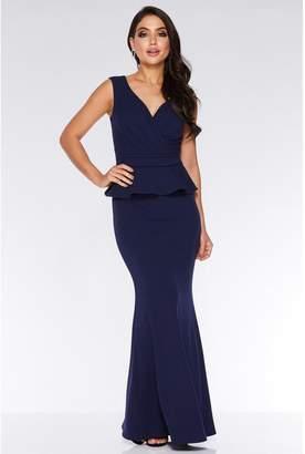 Quiz Navy Bardot Wrap Peplum Maxi Dress