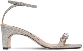 Sergio Rossi 60MM EMBELLISHED GLITTER LEATHER SANDALS