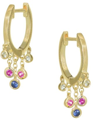 Meira T Tri-Color Sapphire & 14K Yellow Gold Huggie Earrings