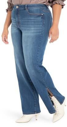 ELOQUII Slit Hem Jeans