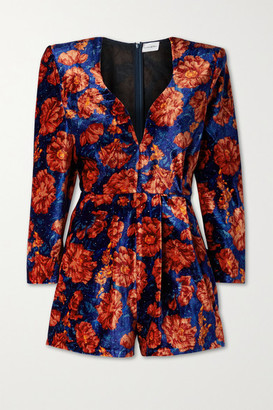 Magda Butrym Crystal-embellished Floral-print Velvet Playsuit - Navy