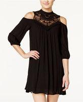 As U Wish Juniors' Lace-Trim Cold-Shoulder Peasant Dress