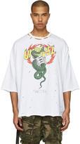 Unravel White Distressed Snake Boxy T-shirt