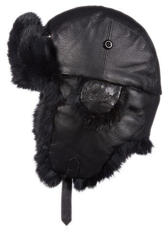 Woolrich Genuine Fur Lined Leather Aviator Cap