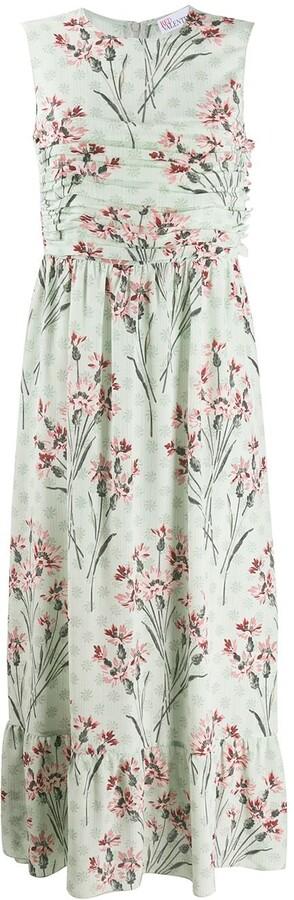 RED Valentino Floral Print Sleeveless Long Dress