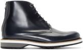 WANT Les Essentiels Navy Leather High-top Montoro Derbys